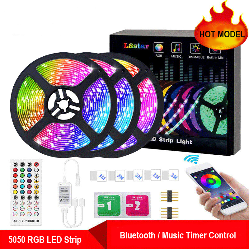 32.8Ft Bluetooth APP RGB LED Strip Lights Waterproof Flexible 300 LEDs SMD5050 LED Strips Lights With Remote Timmer Music Sync