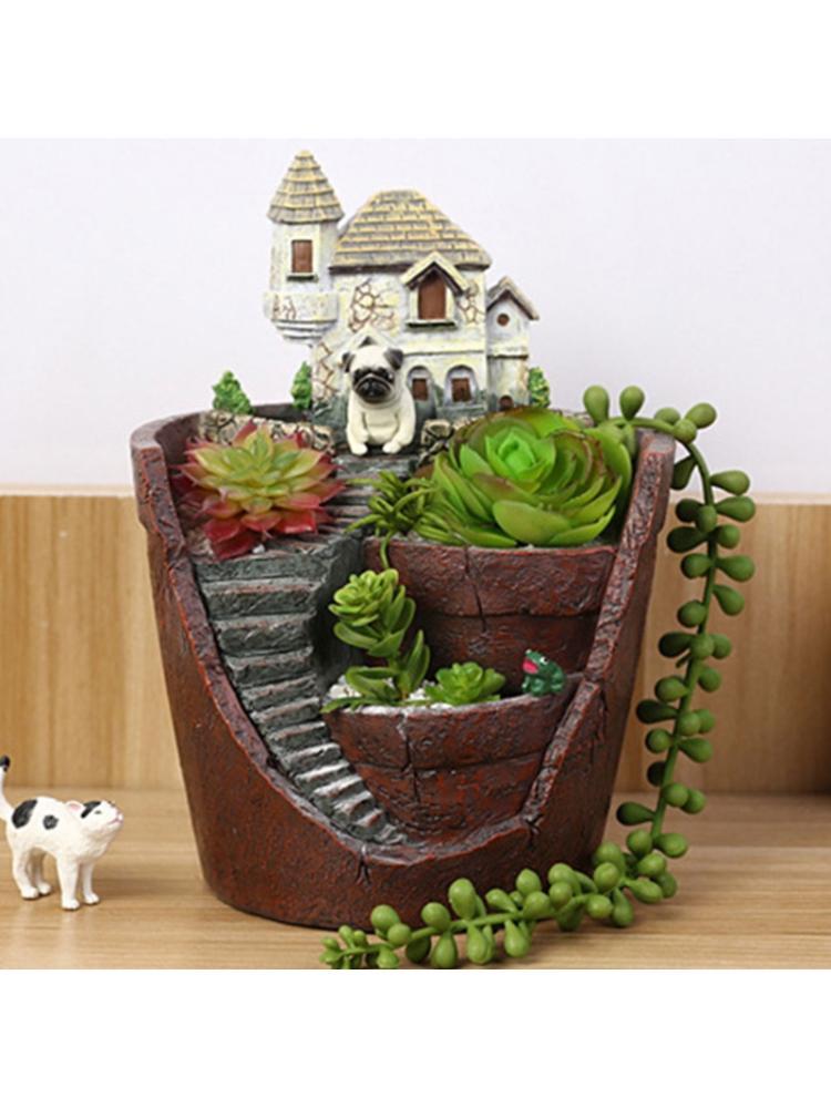 Mini House Figurines Resin Flower Pot for Herb Cacti Succulent Plants Planter Home Garden Micro- Landscape Decor Crafts dropship