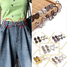 1 Set Waist Adjustment Button Silver Gold Metal Garment Hooks Jeans Waist Buckle Removable Rivet Button DIY Invisible Button Hot