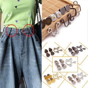 1 Set Waist Adjustment Button Silver Gold Metal Garment Hooks Jeans Waist Buckle Removable Rivet Button DIY Invisible Button Hot