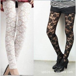New Sexy Retro Black White Rose Lace Leggings Wholesale Shein Athleisure Women Summer Clothes Legging
