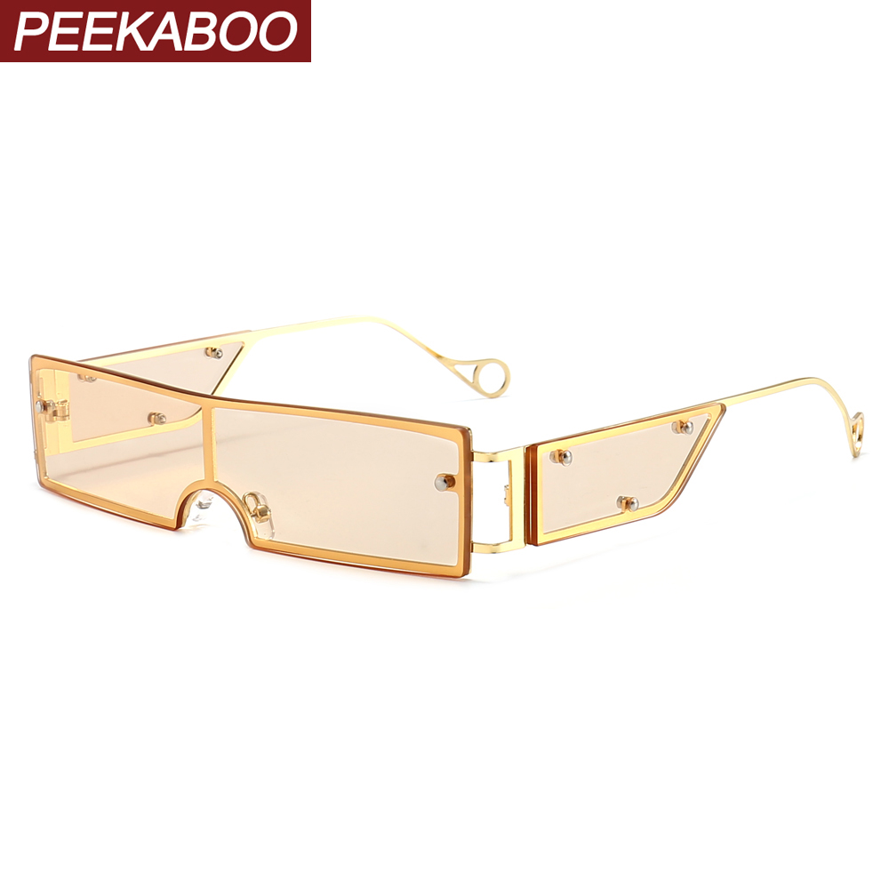Peekaboo Brown Women Rectangular Sunglasses With Side Shields Party Green Yellow One Piece Vintage Sun Glasses For Men Metal