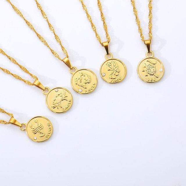 Constellation monnaie collier femme bijoux zodiaque lettre collier pour femmes acier inoxydable or chaîne meilleur cadeau damitié