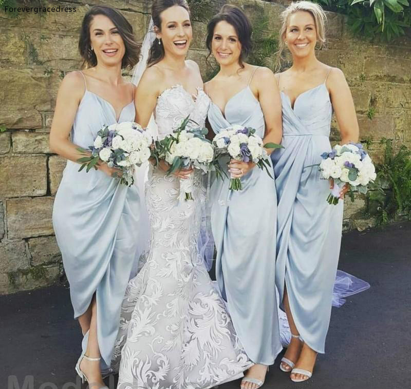 Cheap Sky Blue Bridesmaid Dress Spaghetti Straps Split Long Garden Formal Wedding Party Guest Maid Of Honor Gown Plus Size