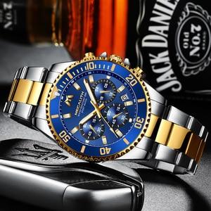 Image 2 - MEGALITH יוקרה Mens שעוני ספורט הכרונוגרף עמיד למים אנלוגי 24 שעה תאריך קוורץ שעון גברים מלא פלדת יד שעונים שעון