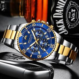 Image 2 - MEGALITH Роскошные мужские часы, спортивные часы с хронографом, водонепроницаемые аналоговые кварцевые часы с датой 24 часа, мужские полностью Стальные наручные часы