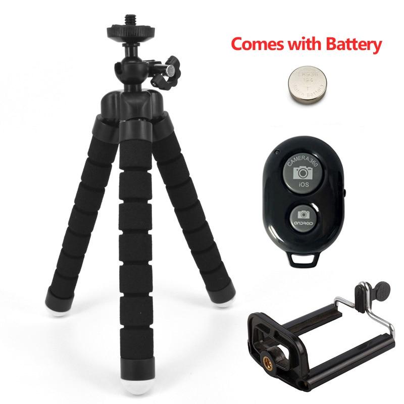 Штатив-держатель для телефона, универсальная подставка для телефона, гибкий губчатый мини-штатив с Bluetooth дистанционным затвором для камеры iPhone - Цвет: Black with 2
