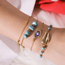 Minimalist Multi-layered Bracelet for Women Simple Shell Eye-shape Wild Metal Geometric