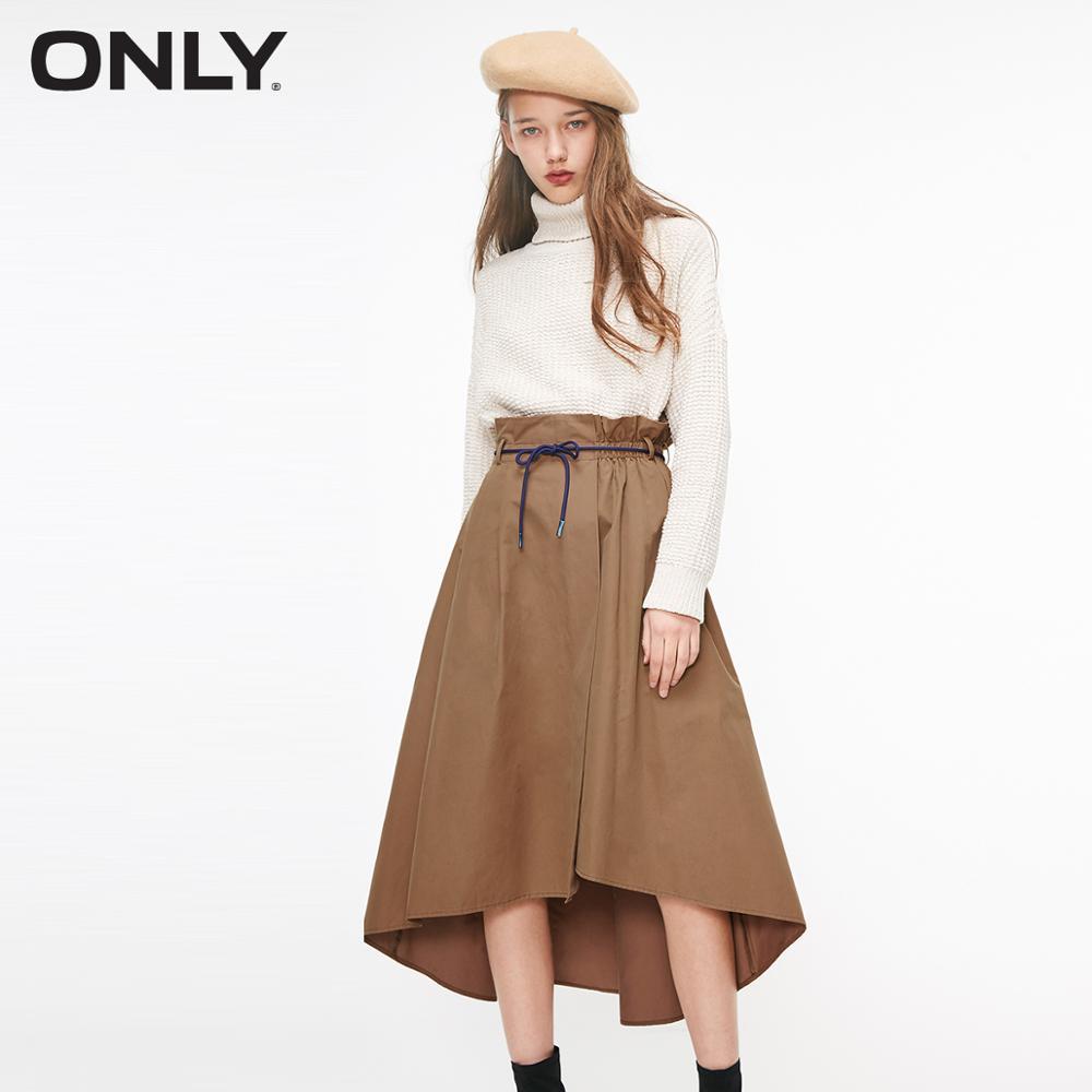 ONLY Women's Pure Color Elasticized High Waist A-line Irregular Skirt   119116506