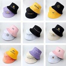 Seau chapeaux femmes lettre brodé Double face pêcheur chapeau Style coréen solide escalade en plein air crème solaire seau chapeau ZZ-337