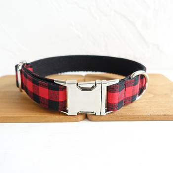 Personalized Pretty dog collars and leashes set 5 sizes Handmade soft pet accessory THE RED BLACK PLAID UDC074 image