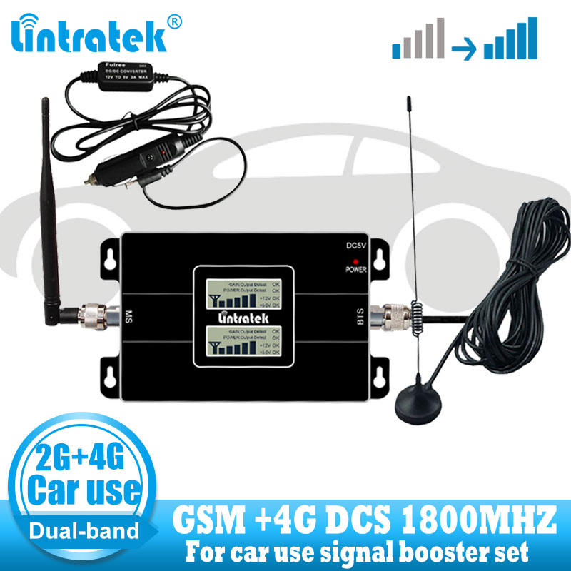 Car Use Cellular Repetidor GSM 900 LTE 1800 2G 4G Antenna Signal Booster Cellphone Cellular GSM 4G Signal Repeater  Amplifier