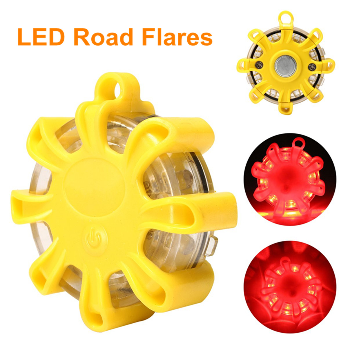 Multifunctional Portable LED Road Flare Safety Lights Emergency Beacon Magnetic Roadside Flashing Light Warning Road Rescue Lamp