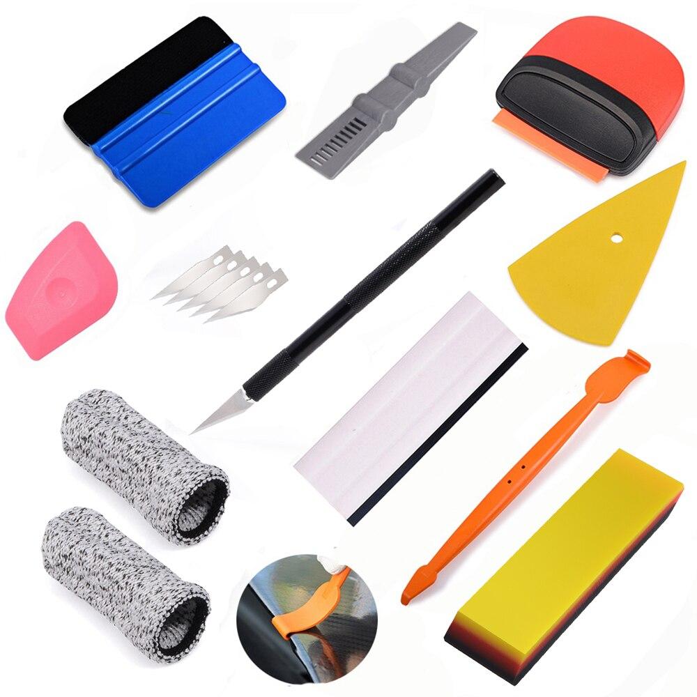 Car Wrapping Vinyl Squeegee Felts 2 Magnet Glove Film Sticker Scraper Tuck Tools