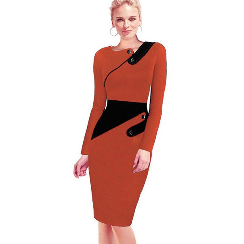 Черное платье туника для женщин Формальная работа Офис Оболочка Лоскутная линия Асимметричная шея длина до колена размера плюс карандаш платье B63 B231 - Цвет: Orange