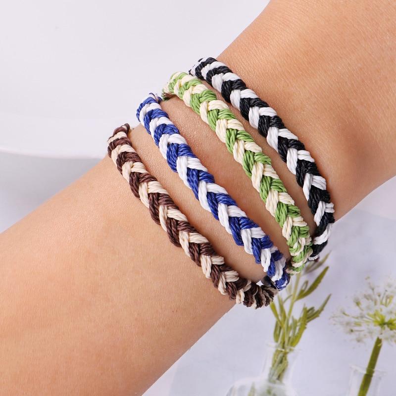 Meetvii Simple Wax Line Handmade Braid Rope Bracelet Colorful Waveing Lucky String Bracelets for Women Jewelry Gift