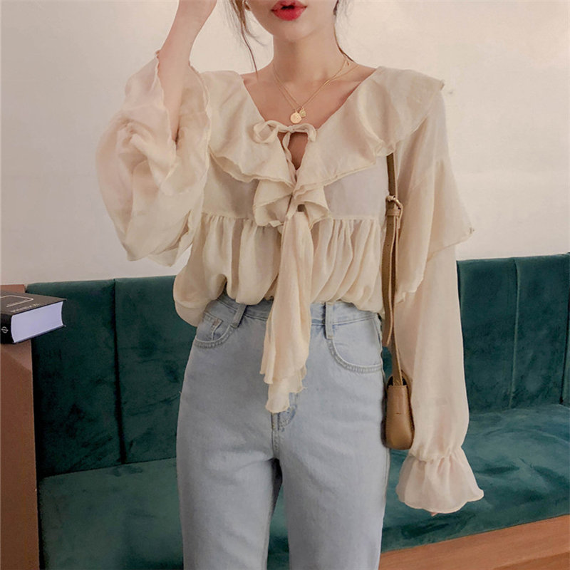 Alien Kitty Double Ruffles Solid Lace-Up Flare-Sleeved 2020 Elegance High Street Loose Blouses Cute Sweet All Match OL Shirts