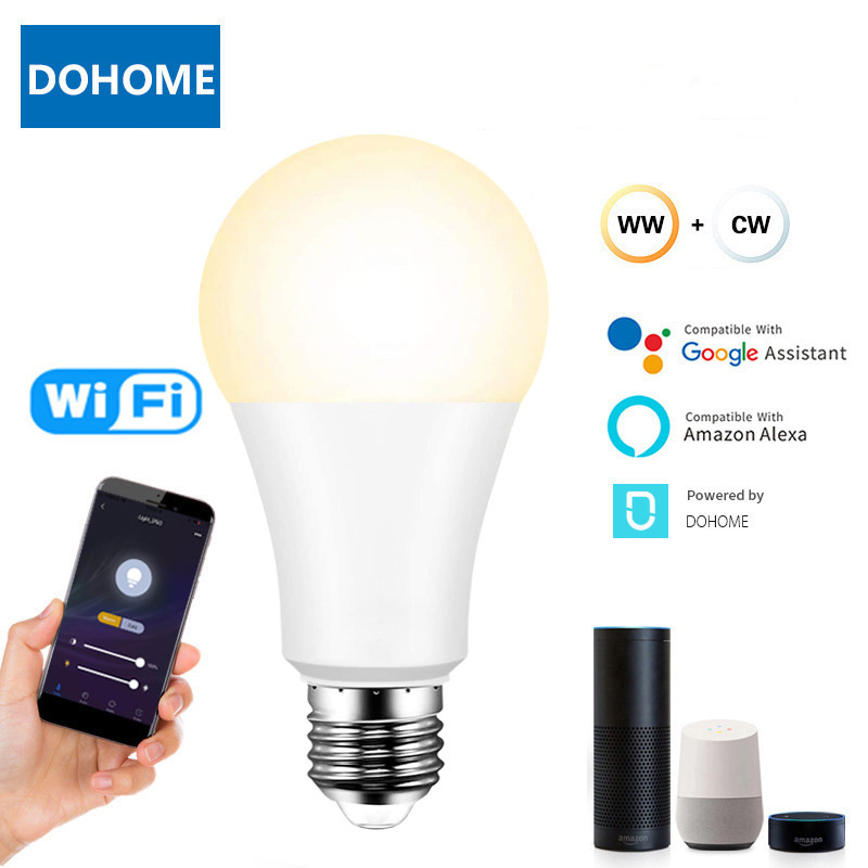 Умсветильник Светодиодная лампа B22 E27 E26 с регулируемой яркостью, 9 Вт, Wi-Fi, работает с Alexa/Google Home, 220 В, с функцией таймера и теплой и белой лампо...