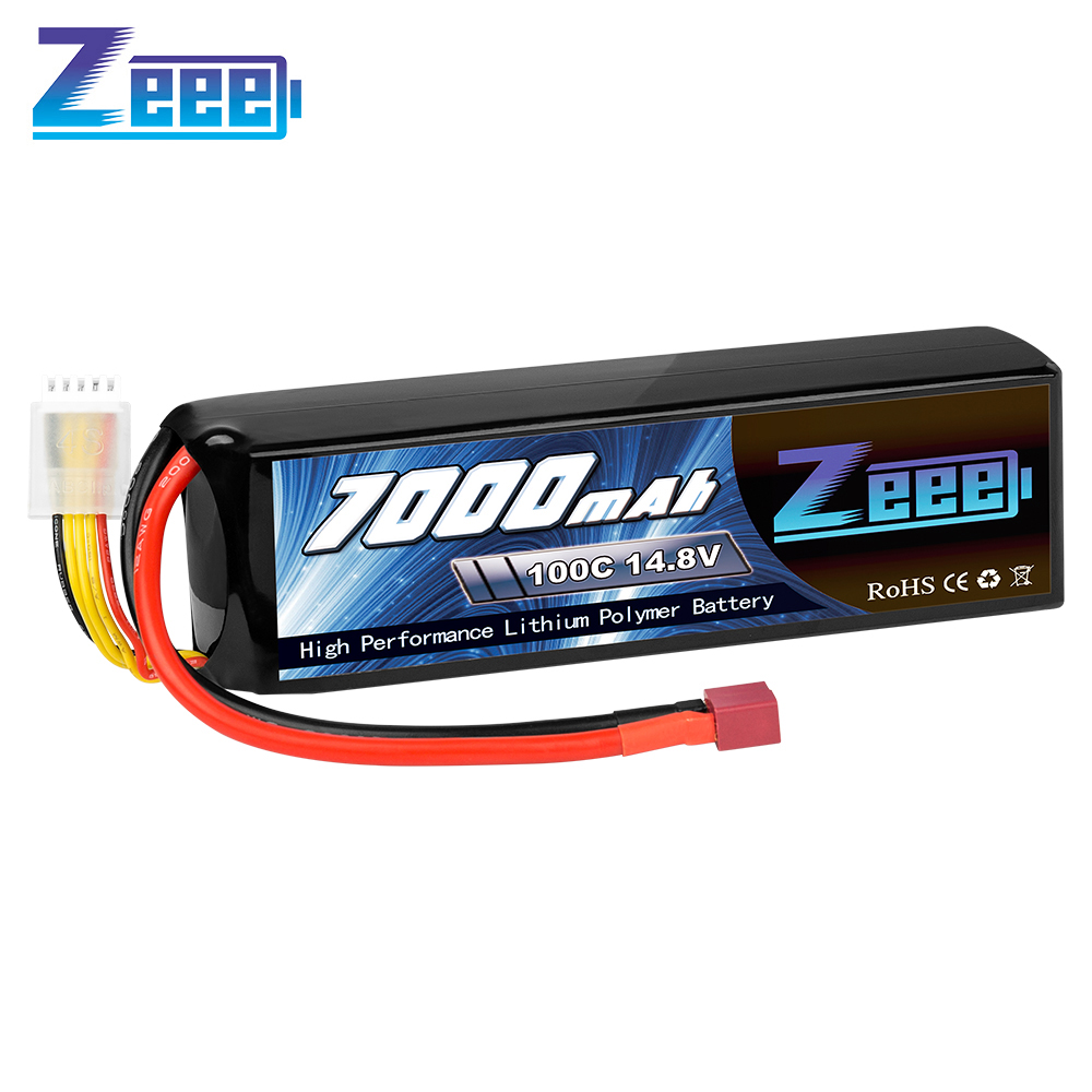 Zeee 14.8V 100C <font><b>7000mAh</b></font> <font><b>4S</b></font> <font><b>Lipo</b></font> Battery Deans Connector with Metal Plates for X-Maxx RC Truck Tank RC Car Racing Hobby image