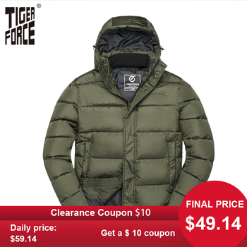 TIGER FORCE Winter Men Jacket Male Padded Coat Mens Parka Spring Autumn Warm Casual Hooded Jackets Outerwear - discount item  68% OFF Coats & Jackets