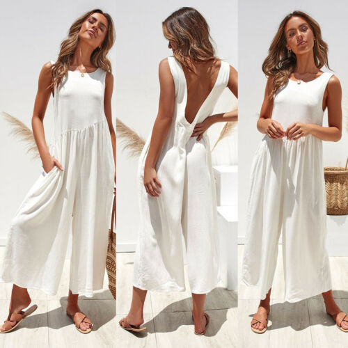 2019 Women Fashion Sleeveless Jumpsuit Romper Casual Backless Loose Women Clothes S-XL Summer Holiday Solid Cotton Playsuit
