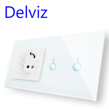 Delviz EU Standard Wall Switch Socket, 2Gangs 1Way/2Way,Model 146,mains jack,Home Touch Screen Light Switch, Crystal Glass Panel