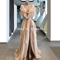 Handmade Split Side Evening Dresses With Belt 2019 Dubai Aibye Party Long Formal Dress A Line Prom Gown Robe De Soiree Arabic