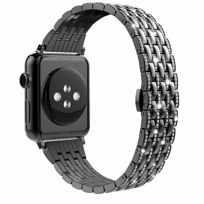 Série 5 4 3 2 1 cristal strass diamant acier inoxydable lien Bracelet Bracelet pour Apple bracelets de montre 42mm 38mm 40mm 44mm