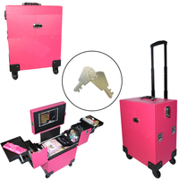 Portable Aluminum Cosmetic Makeup Case Tattoo Box with PVC Mirror Organizacion Storage Organizer Pink/Black Free shipping