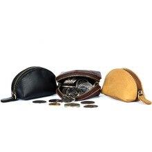 цена на Genuine leather Small Mini Wallet Holder Zip Coin Purse Clutch Handbag Purse Bag Pouch Key Holde For Women 2020