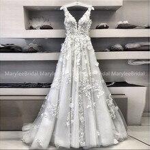 妖精 A ラインのウェディングドレスと 3D アップリケチュール Vestidos デノビア 2020 ロマンチックなディープ V ネックブライダルドレススイープトレイン