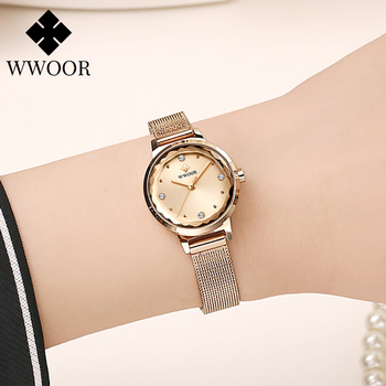 reloj mujer Women Watches WWOOR Luxury Brand ladies Crystal Watch Women Dress Fashion Quartz Clocks Female Fashion Wristwatches 2020 new brand qingxiya bracelet watches women luxury crystal dress wristwatches clock women s fashion casual quartz watch reloj