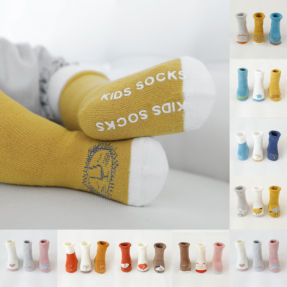 3 pairs/lot 2019 autumn and winter newborn baby floor socks new terry thickening children socks baby high <font><b>tube</b></font> non-slip socks image