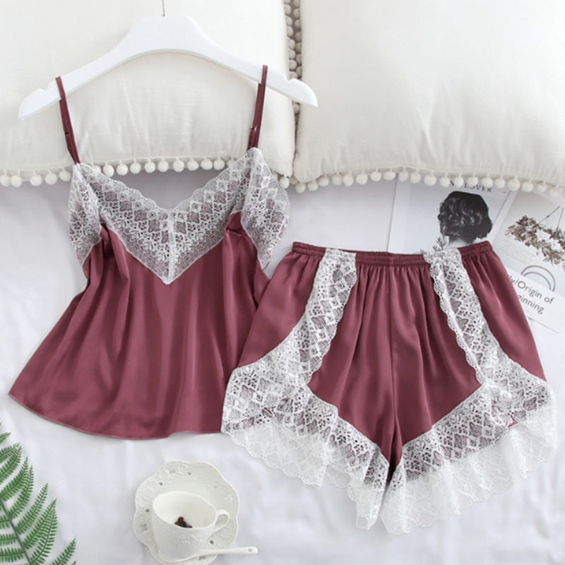 Hot Sexy Satin Pajama Set Women's Sleepwear Soft V-Neck Elastic Lace Comfortable Spaghetti Strap Short Sets