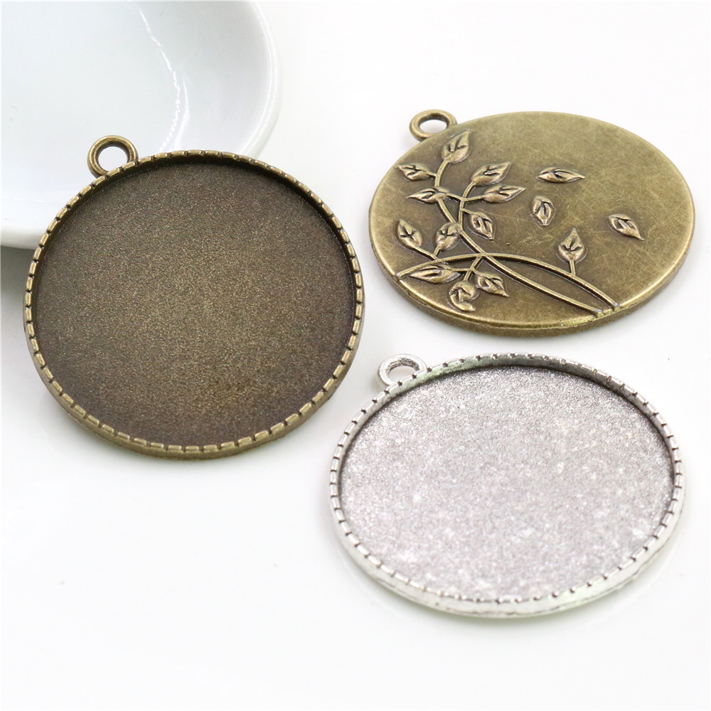 5pcs/lot 35mm Inner Size Antique Bronze And Silver Colors Plated Flower Fashion Style Cabochon Base Setting Charms Pendant
