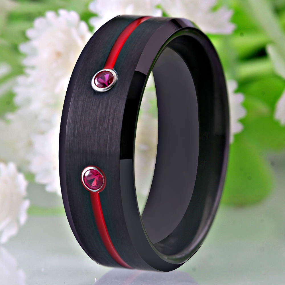 Image 4 - New Tungsten Wedding Band Engagement Rings For Women Classic Mens Black Tungsten Ring With Red Groove CZ Anniversary Gift RingWedding Bands   -