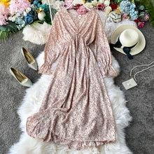 Женская шифоновая юбка с v образным вырезом и длинным рукавом
