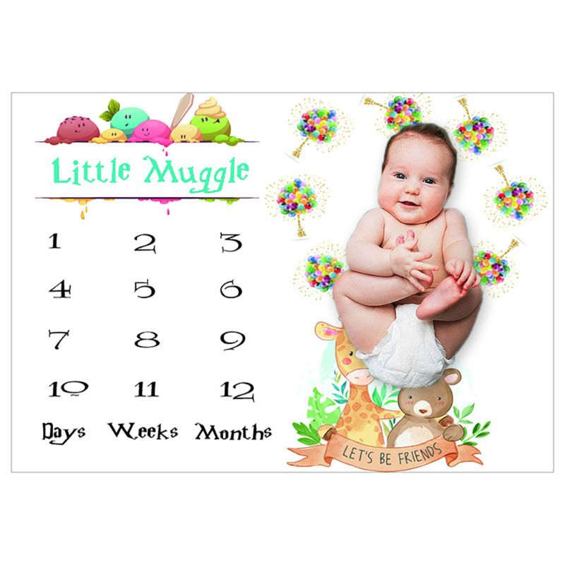 Baby Monthly Record Growth Milestone Blanket Newborn Cartoon Animal Pattern Photography Props Photo Creative Background Cloth In
