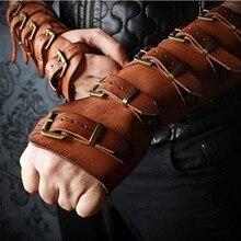 Для взрослых мужчин средневековый воин Larp рыцарь кожаный нарукавник с пряжкой Броня заклепки стимпанк Archer рукавица Косплей Костюм шестерни