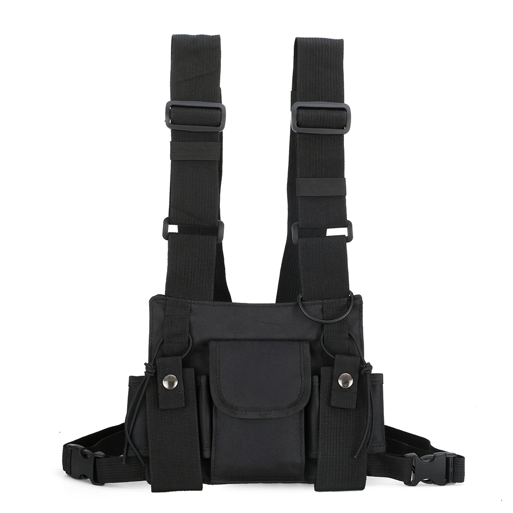 With Shoulder Strap Waist Belt Vest Pouch Multi Pockets Tactical Rig Chest Bag Fashion Multifunctional Hip Hop Streetwear Nylon