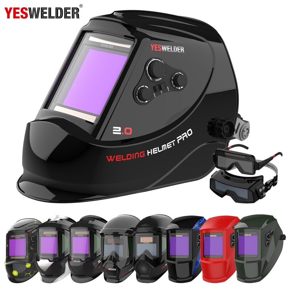 YESWELDER Large Screen Welding Mask True Color Welding Helmet Solar Auto Darkening Weld Hood without Battery