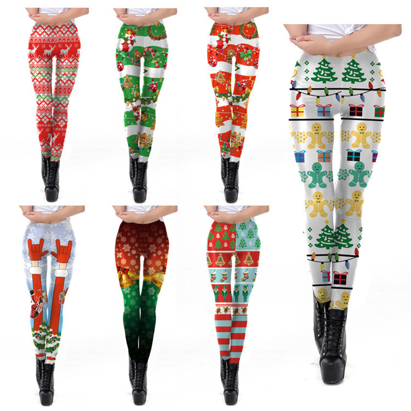 Christmas Leggings Women 3D Cartoon Printing Cute Legging Plus Size Ankle-Length Sexy Leggings Women Clothing Leggins Mujer 2019