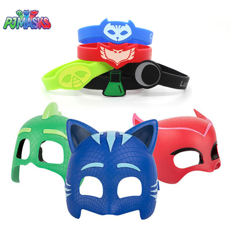 Pj Masks Set Children Party Mask Outdoor Games Cosplay Costume  Mask Bracelets Catboy Owlette Gekko Anime Figures Toys For Boys