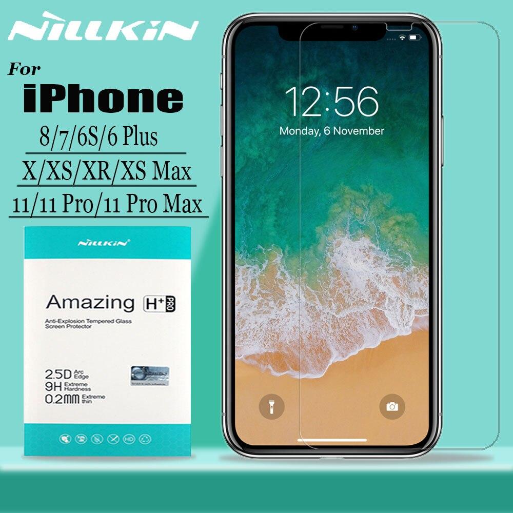 Para o iphone 11 Pro Max X Xr Xs Max Protetor de Tela de Vidro Nillkin 9H Duro Clara de Vidro Temperado De Segurança para o iphone 8 7 6 6s Plus