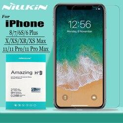 Para o iphone 11 11 pro max x xr xs max vidro temperado protetor de tela nillkin 9 h duro vidro de segurança para iphone 8 7 6s 6 mais filme