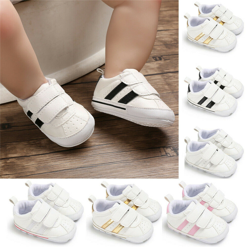 Fashion Toddler Soft Sole Hook Loop Prewalker Sneakers Baby Boy Girl Crib Shoes Newborn Leather Sports  Non-slip Walker Shoes