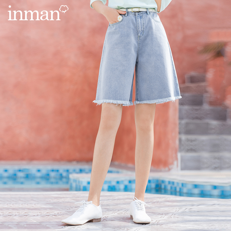 INMAN 2020 Summer New Arrival Natural Waist Washing Fashion Street Bermuda Half Length Shorts