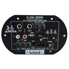 KOK-380 ac 220v 12v 24v digital bluetooth amplificador placa subwoofer microfone duplo karaoke amplificadores casa do carro amp