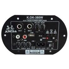 KOK 380 AC 220V 12v 24v dijital Bluetooth amplifikatör kurulu Subwoofer çift mikrofon Karaoke amplifikatörler araba ev amplificador AMP