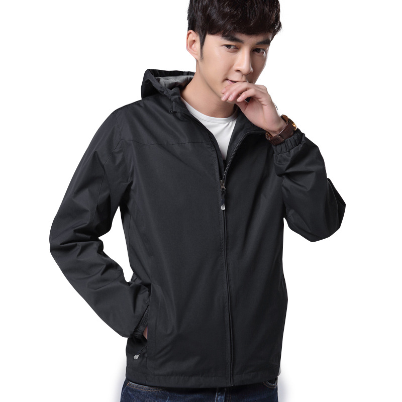 Men's Sports Jacket Men's Thin Jacket Spring And Autumn Hooded New Style Outdoor Extra-large Raincoat Jacket Plus-size MenS фото